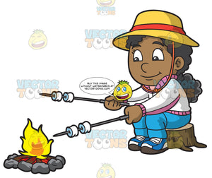 A Black Girl Roasting Marshmallows While Camping
