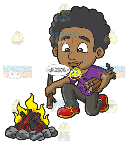 A Black Boy Placing More Wood Onto The Campfire