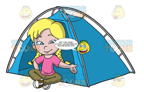 A Girl Sitting Outside Her Camping Tent
