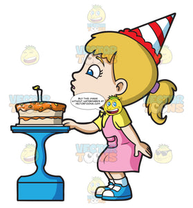 A Girl Blowing Her Birthday Cake