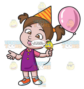 A Birthday Girl With Her Balloon