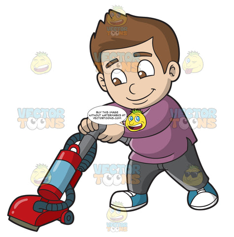 A Boy Vacuuming The Floor