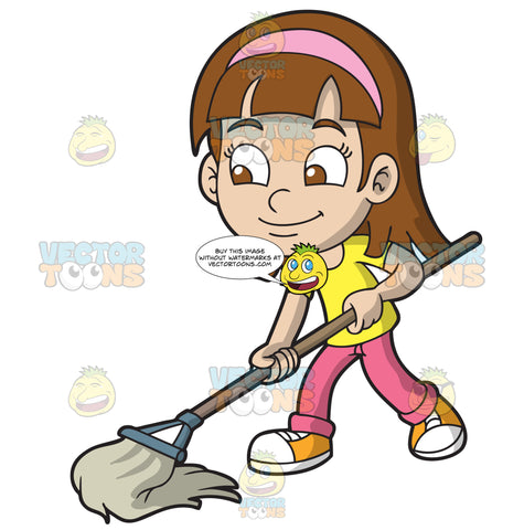 A Girl Mopping The Floor