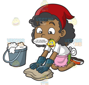 A Black Girl Scrubbing The Floor