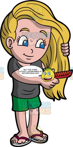 A girl combing out her long hair. A girl with long blonde hair and blue eyes, wearing green shorts, a gray T-shirt, and flip-flops, uses a red comb to brush out her long hair