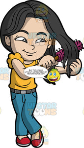 An Asian girl brushing her hair with a round hairbrush. An Asian girl with long black hair, wearing blue jeans, a yellow T-shirt, and red shoes, uses a round hairbrush to brush her thick hair
