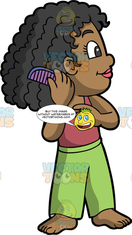 A black girl combing her curly hair. A black girl with long, thick hair, wearing green pants and a tank top, uses a purple cone to brush through her curly hair