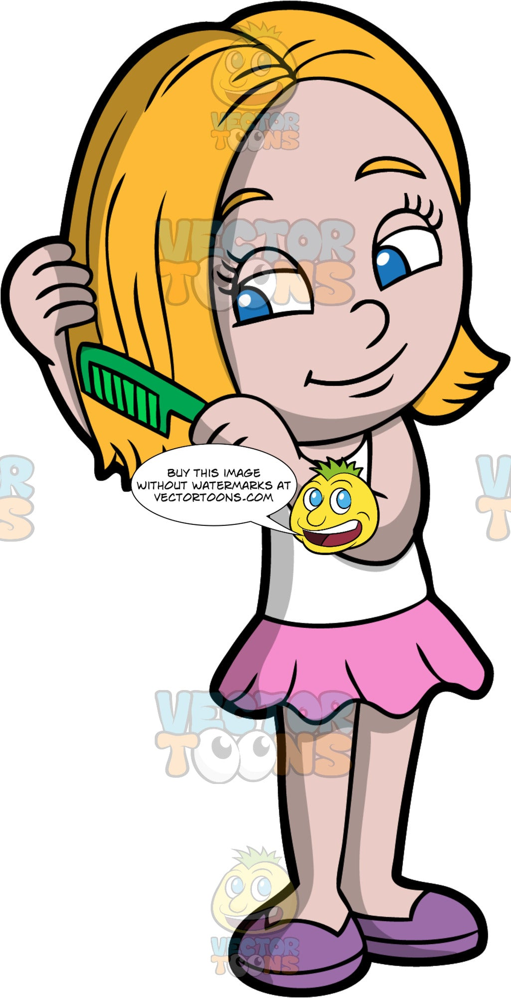 A Pretty Girl Combing Her Hair Clipart Cartoons By Vectortoons