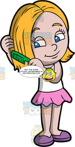 A pretty girl combing her hair. A girl with blond hair and blue eyes, wearing a pink skirt, a white tank top, and purple shoes, gently combs her hair out with a green comb