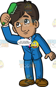 An Indian boy brushing his hair. An Indian boy wearing a blue suit, white shirt, pink tie, and brown dress shoes, brushes his hair with a green hairbrush