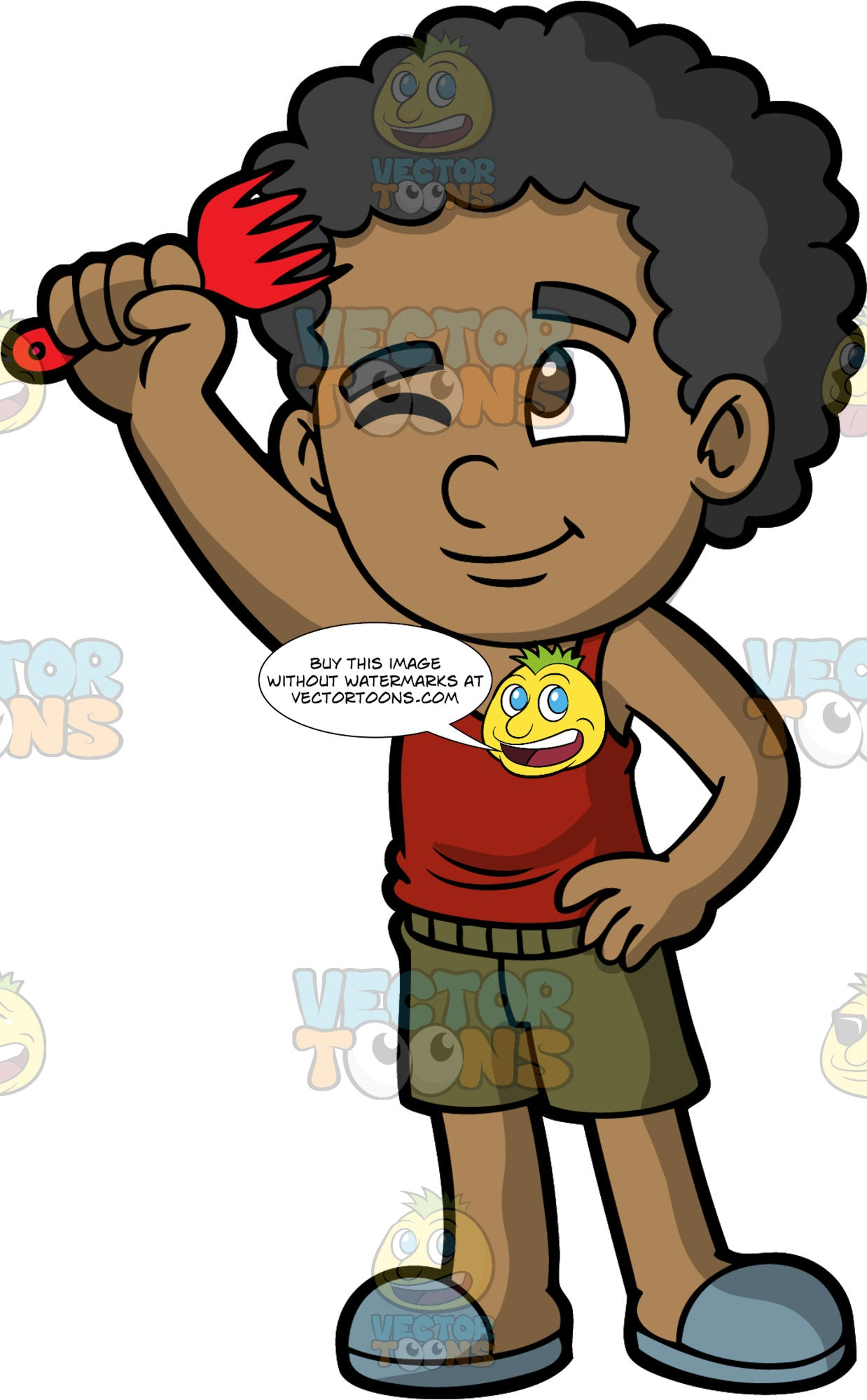 A black boy combing his hair with an afro pick. A black boy wearing green shorts, a red shirt, and gray slip on shoes, uses a red afro pick to comb his hair