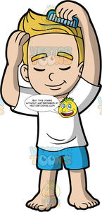 A blonde boy combing his hair. A boy with blond hair, wearing blue shorts and a white T-shirt, closes his eyes and combs his hair with a blue comb
