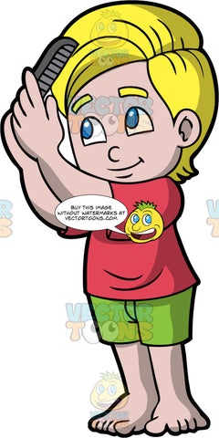 A boy combing his hair. A boy with blond hair and blue eyes, wearing green shorts and a red T-shirt, uses a gray comb to comb out his thick hair