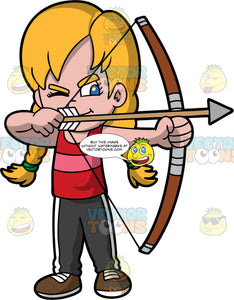 Light skin girl with blonde hair holding a bow and arrow. Light skin girl with blond hair and blue eyes holding a bow and arrow about to shoot. Wearing brown shoes, black pants, and red shirt. She has one eye closed with the other I focused on her target.