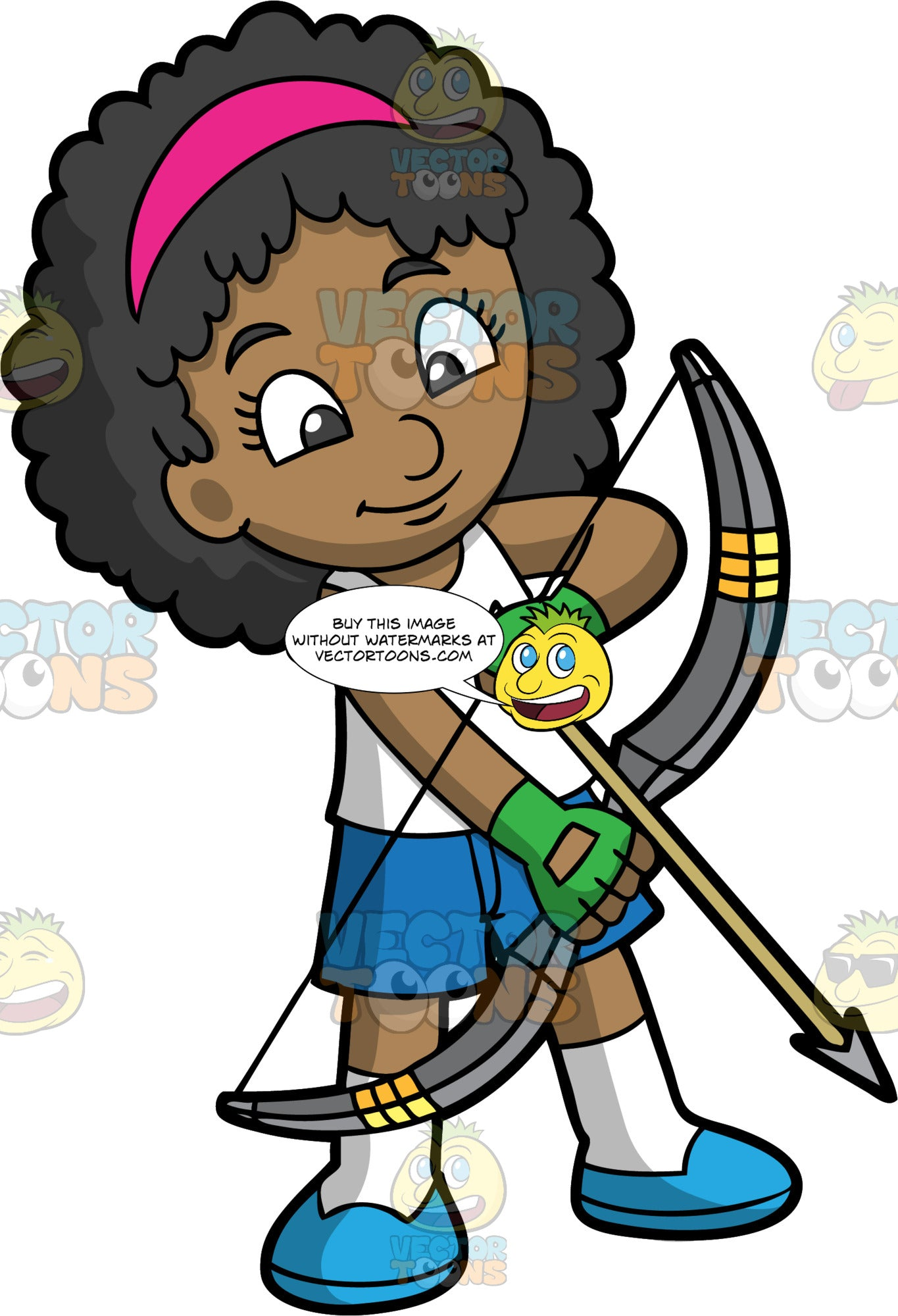 Black girl holding a bow and arrow. A black (African-American) girl holding a bow and arrow. Wearing blue shoes, white socks, blue shorts, white shirt and green gloves. She has black hair, dark eyes and a pink hair band. Holding her bow and arrow down while looking at it.