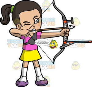 Girl with dark hair holding a bow and arrow. Light skinned girl with dark hair and dark eyes holding a bow and arrow about to shoot. Wearing purple shoes, white socks, yellow skirt and pink shirt. She has one eye closed with the other I focused on her target.