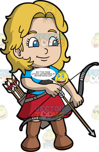 Light skinned girl holding a bow and arrow. Light skin girl with blond hair and blue eyes holding a bow and arrow. Wearing brown boots, red skirt and blue shirt.