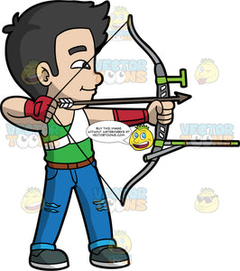 Asian boy holding a bow and arrow. Asian boy with black hair holding a bow and arrow about to shoot. Wearing dark shoes, blue pants and green shirt.