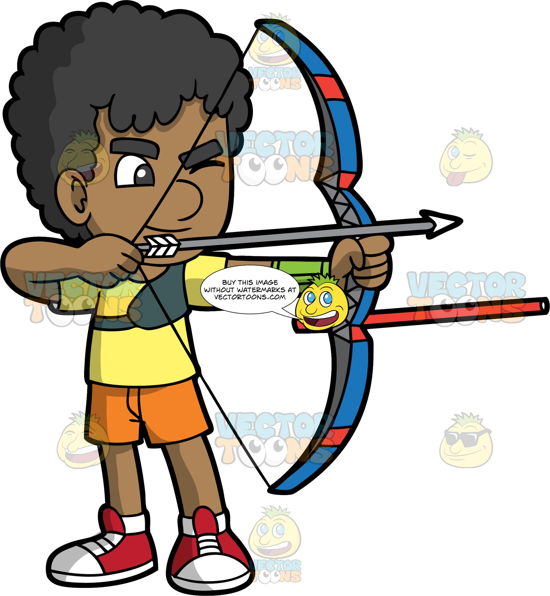 Brown skinned boy holding a bow and arrow. Young boy with brown skin and black hair holding a bow and arrow about to shoot. Closing one eye wearing red shoes, orange shorts and a yellow shirt.