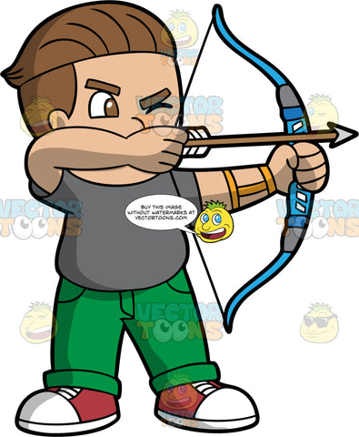 Light skinned boy holding a bow and arrow. Light skinned boy with brown hair and brown eyes holding a bow and arrow about to shoot. Wearing red shoes, green pants and gray T-shirt.
