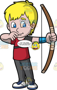 Light skinned boy practicing his archery stance. Light-skinned boy with blond hair and blue eyes holding and archers Bow practicing his stance. Wearing white shoes, dark pants and red shirt. Holding archers Bow in his left-hand.
