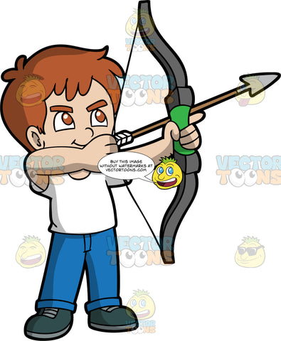 Light skin boy with brown hair holding a bow and arrow. Light skinned boy with brown hair and brown eyes holding a bow and arrow pointing up at a target. Wearing dark shoes, blue jeans, and white shirt. His eyes are focused on the target.