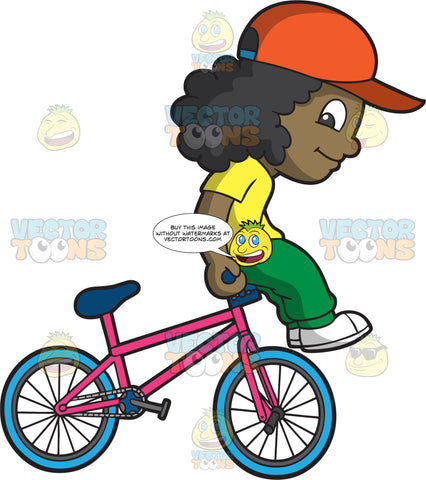 A Happy Black Girl Doing The Barhop Bmx Trick