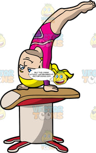 A Girl Gymnast Springing Over A Vault. A girl with ponytailed blonde hair, wearing a pink leotard, does a handstand on top of a red and beige gymnast vault
