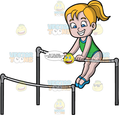 A Happy Girl Doing Her Gymnastics Bars Routine. A girl with blonde hair in a ponytail, wearing a green sleeveless leotard, blue gymnast shoes, smiles while training her moves for competition on the black and gray gymnastic bars