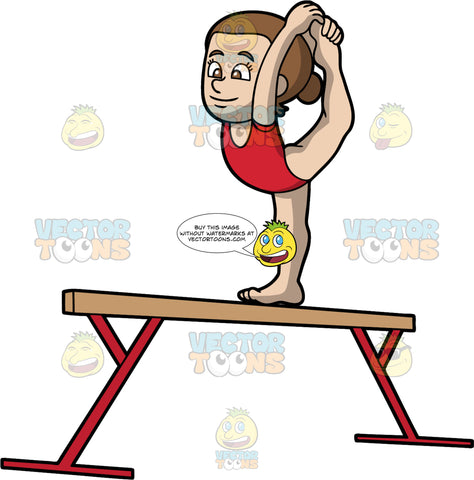 A Girl On Top Of A Balance Beam. A girl with brown hair tied up in a bun, wearing a red sleeveless leotard, pulls her left leg upward from the back and holds it with her hands, as her right foot stands on top of a beige and red balance beam