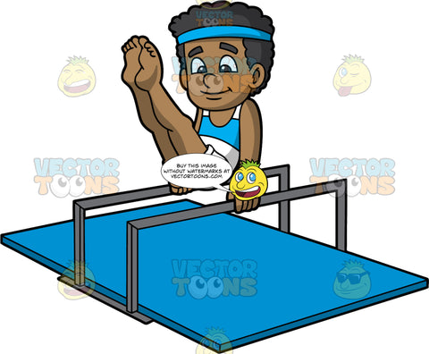 A Black Boy Balancing In Between Parallel Bars. A black boy with curly hair, wearing a blue bandana, sleeveless white and blue top, white shorts, wrist bands, smiles while practicing his gymnastics low parallel bars routine