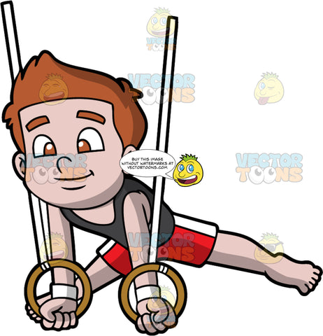 A Boy Doing His Gymnastics Rings Routine. A boy with brown hair, wearing a black tank top, red with white shorts, smiles while training his gymnastics rings routine