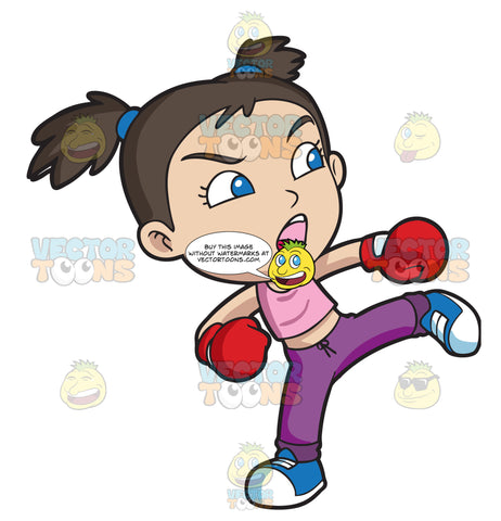 A Girl During A Kickboxing Training