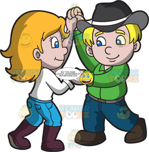 Healthy Looking Kids Dancing The Two Step Clipart Cartoons By Vectortoons