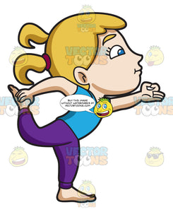 A Girl Balancing Herself In A Yoga Pose Clipart Cartoons By Vectortoons