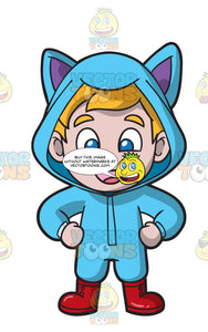A Cute Little Boy Wearing A Kitten Raincoat