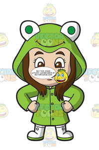 A Fierce Girl Wearing A Frog Raincoat