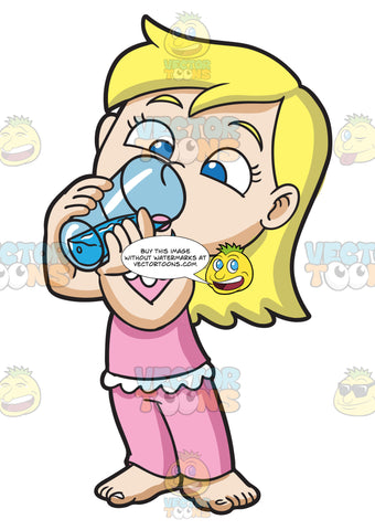 A Young Girl Drinks Water After Waking Up