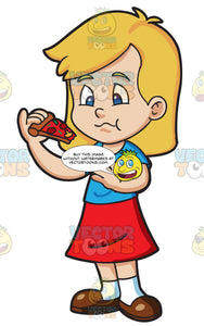 A Girl Munching A Slice Of Pizza