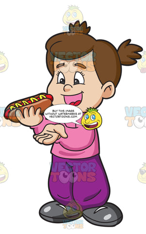 A Girl Delightfully Munches A Hot Dog Sandwich