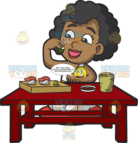 A Black Girl Eating Sushi