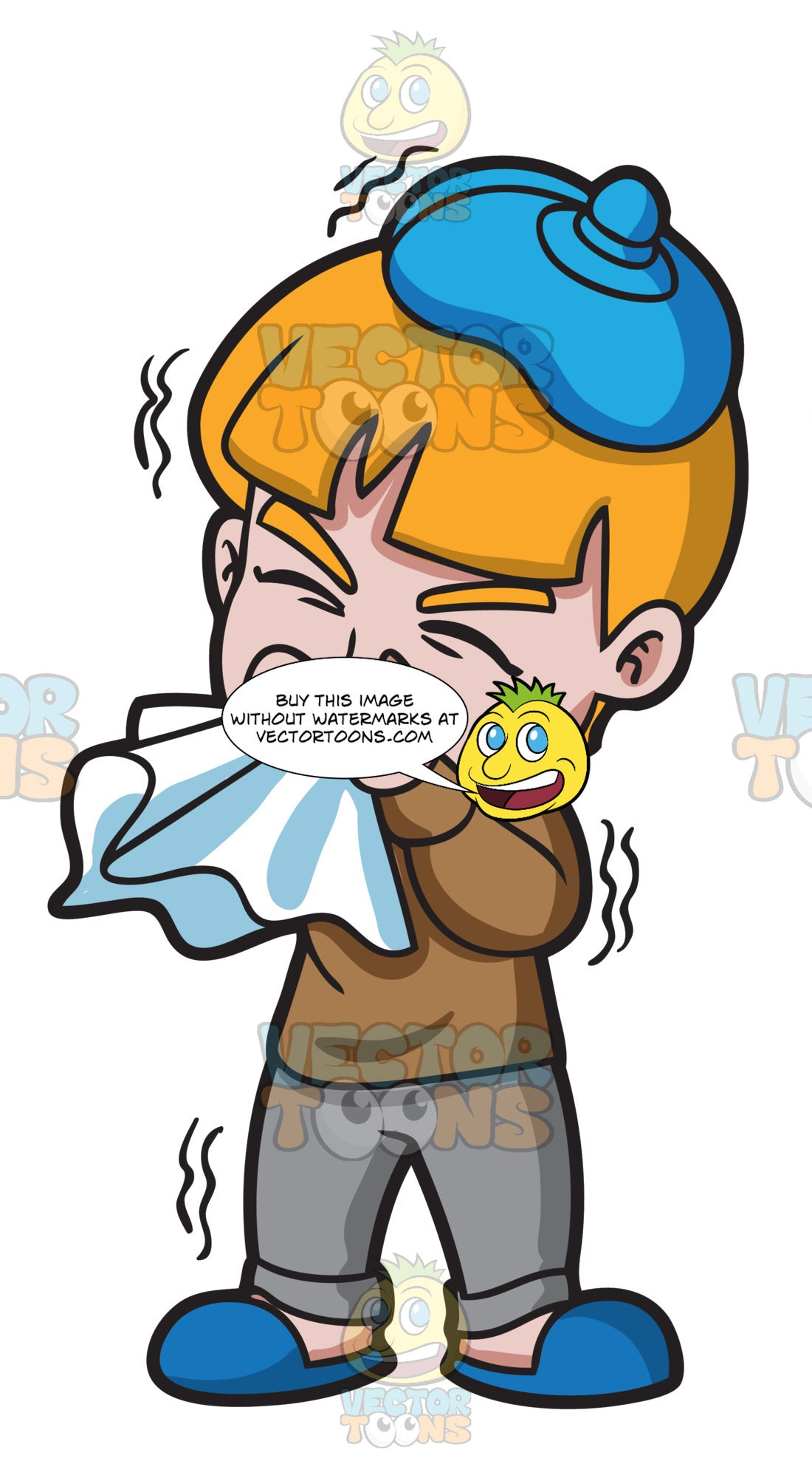 A Sick Boy With A Runny Nose Clipart Cartoons By Vectortoons