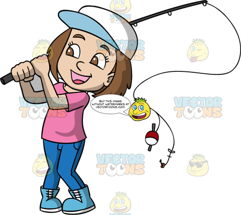 A Joyful Girl With A Fishing rod. A girl with brown hair, wearing a white cap, pink shirt, blue pants, light blue boots, smiles while swinging back a black fishing rod, rod with a red and white bobber