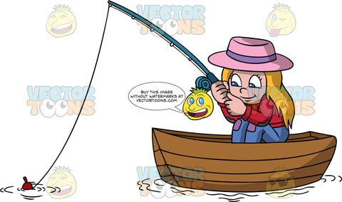 A Girl Sitting In A Boat Fishing. A girl with blonde hair, wearing a pink hat with a purple band, red sweatshirt, blue violet pants with a purple knee patch, smiles while waiting to catch a fish inside a wooden boat, as she holds a teal fishing rod, rod with a red bobber