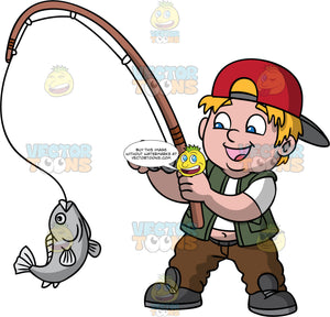 A Chubby Boy Catching A Fish. A chubby boy with blonde hair, wearing a red cap with a gray brim, wearing a white tight shirt, dark green vest, brown pants, black shoes, smiles while holding a brown fishing rod, rod as he rolls the gray spinning reel that spins a string with a gray fish at the end
