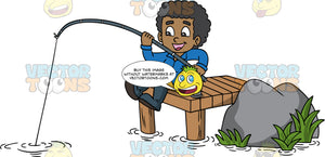 A Black Boy Catching A Fish. A black boy with curly hair, wearing a blue jacket, dark yellow pants, dark teal boots, smiles while sitting at the end of a small wooden port beside a gray rock with floating green bushes, as he waits to catch a fish using a gray rod and a can of worms