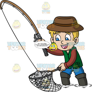 A Boy Catching A Fish With A Rod And Net. A boy with blonde hair, wearing a brown hat, wearing a reddish brown sweatshirt, green vest, blue pants, dark gray boots, smiles while catching a gray fish using a brown with gray fishing rod, rod and a net handle