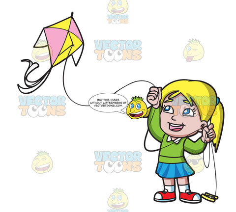 A Delighted Girl Flying Her Pretty Kite