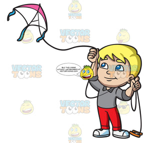 A Boy Flying A Pretty Kite