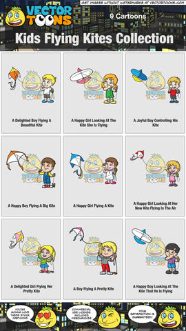 Kids Flying Kites Collection